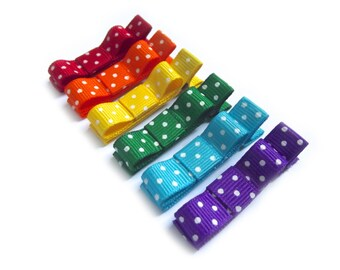 Rainbow Hair Clips Polka Dot Hair Clips Tuxedo Bows Baby Girl Hair Clips Baby Hair Clips Baby Bows Toddler Hair Clips Polka Dot Bows