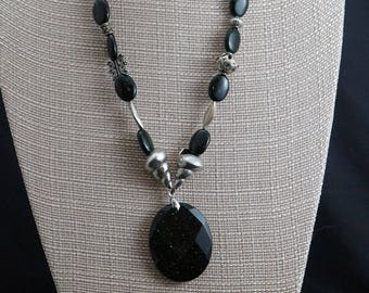 Green Goldstone with Sterling Silver