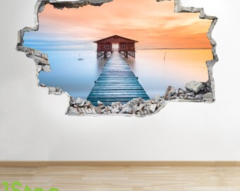 Lake Pier Wall Sticker 3d Look - Bedroom Lounge Beach Sunset Wall Decal Z288