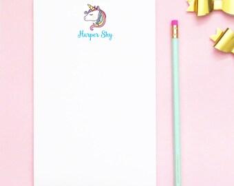 Personalized Unicorn Notepad, Personalized Unicorn Stationary, Personalized Unicorn Stationery Set, Unicorn Kids Thank you notes, NP046