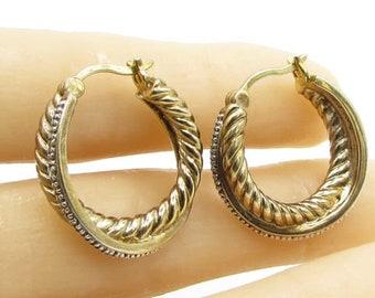 925 sterling silver - genuine diamonds twisted rope hoop earrings - e1007