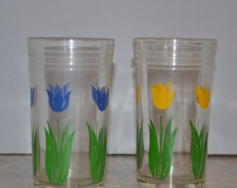 Reserved! Swanky Swig Blue & Yellow Tulip Glasses Set of 2 ~ Kraft Cheese Juice Glasses ~ Vintage Kitchen
