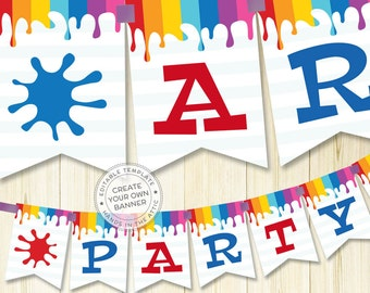 Party decoration ideas, art party birthday supplies, printable party kit templates, party decoration names - BANNER DOWNLOAD - digital PDF