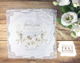Botanical save the dates, wedding handkerchief, floral save the date handkerchief, save the dates, wedding save the dates, save the dates