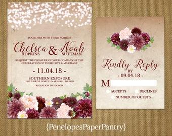 Elegant Rustic Fall Wedding Invitation,Bugundy,Marsala,Blush,Fairy Lights,Parchment,Rustic,Romantic,Custom,Printed Invitation,Wedding Set