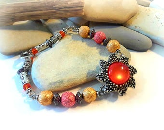 Orange Sun Snap Bracelet | For 18mm Snap Charms | Handmade | Snap Bracelets for Women | Snap Jewelry | Snap Charms | Snap Buttons | Popper