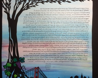 NYC San Francisco Reverie - papercut Wedding Artwork - Ketubah - Calligraphy