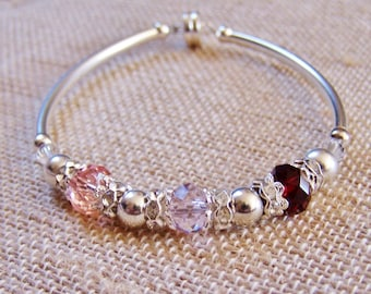 Mother's Birthstone Bracelet, Silver plated and Swarovski Mothers gift (B130)