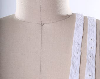 """Clear Plastic Snap Tape Trim set on 0.75"""" White Trim. Perfect for Baby Clothing and Corsets"""