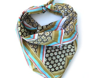 Vintage Scarf in Brown, Aqua and Salmon / Floral and Geometric Stripe Pattern / Ben Goodman Scarf with Hand Rolled Hem / Japan