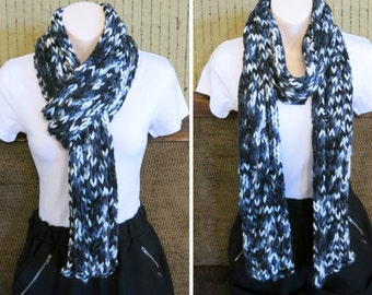 Cable Black Grey Scarf, Knitted Cable Black Grey Mix Scarf, Soft Chunky Wool Cowl, Warm Winter Neck Shawl