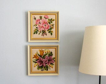 Set of 2 Needlepoint Flower Bouquets - Vintage Framed Art - Pink Home Decor - Flower Wall Decor -  Flower Embroidery Art - Needlepoint Art