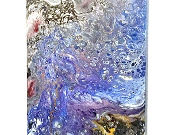 """Waves Crash Abstract Painting - Blue, White, Black & Bronze Metallic Acrylic Paint - Liquid Pour On 8"""" x 10"""" Canvas - Ready To Hang, OOAK"""