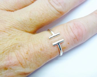 "Sterling Silver Ring Simple Delicate Sterling Silver ""H"" Ring Open Front Sterling Silver Ring"