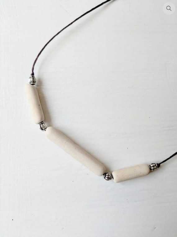 Clay Bead Necklace // Minimalist // Bohemian Beachcomber Style // Clay Pipe Necklace