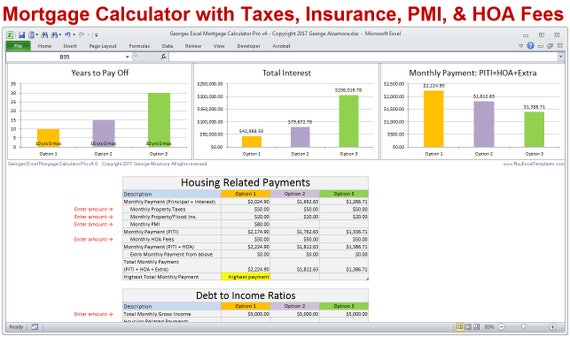 Mortgage Calculator With Taxes Insurance Pmi Hoa Piti Extra