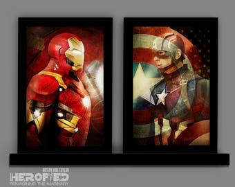 Iron Man and Captain America inspired 11X17 Standard Print Set of 2 Art Prints Herofied Civil War