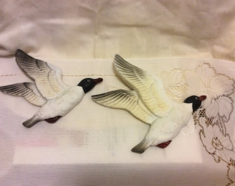 Vintage Set of 2 -- Handpainted Ceramic Seagulls Wall Decor Figurines, Retro Shabby Chic, Man Cave Decor