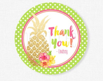 Pineapple Favor Tags, Luau Birthday Party Favors, Gold Pineapple Tags, Hibiscus Favor Tag Personalized