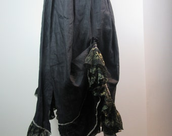 Lagenlook Boho Skirt Long Linen Maxi with Ruffles Shabby Chic Ruched Victorian Inspired One Size Fits S - L