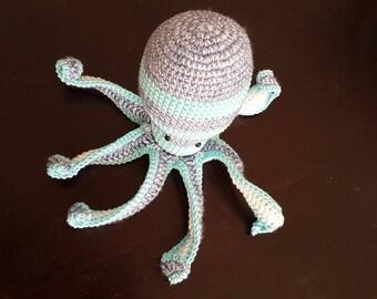 Octopus teether, crochet amigurumi toy, teether octopus, nautical baby shower, sea monster, crochet kraken, ocean party, gift for baby girl