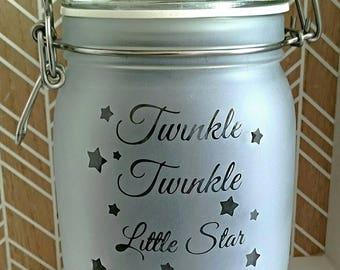 Engraved Kilner Style Jar - Twinkle, Twinkle Little Star - Night Light - With Led lights