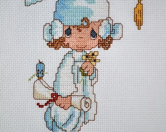 Precious Moments - Girl Graduate - FINISHED Counted Cross Stitch