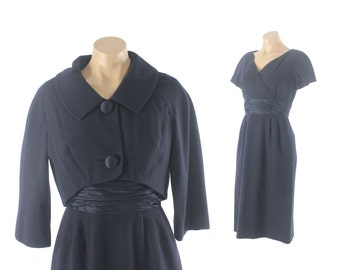 Vintage 60s Wool Suit Short Sleeve Dress Cropped Bolero Jacket Navy 1960s Medium M Mid Century Fashion