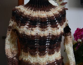 Knitted woman, handmade, crochet, shaded wool, seamless