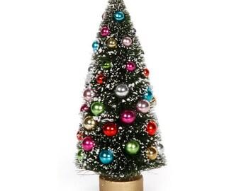 Miniature Christmas Tree 6.5 Inches with Bulbs Dollhouse Decoration  Diorama Shadow Box