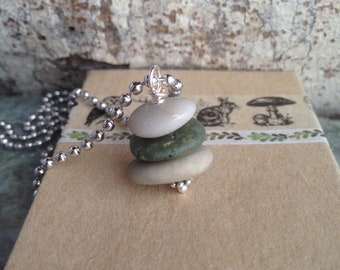 Rock Cairn Necklace Beach Pebble Take a Hike
