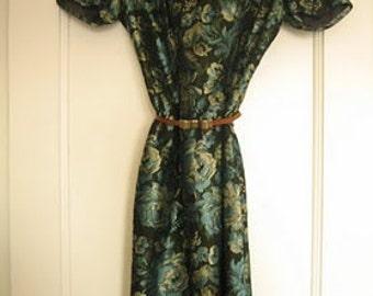 Vintage Floral Mad Men Betty Draper Dress Metallic  Brocade Blue Green Holiday Party Medium