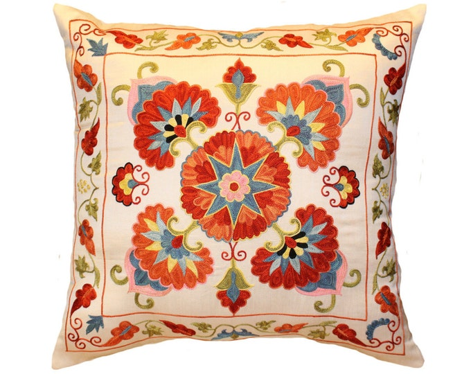 Handmade Suzani Pillow Cover msp12-37, Suzani Pillow, Uzbek Suzani, Suzani Throw, Boho Pillow, Suzani, Decorative pillows, Accent pillows
