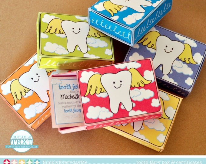 Tooth Fairy Boxes - Tooth Fairy Visit, First Tooth, 6 boxes w/EDITABLE Certificates - Instant download D.I.Y. Printable PDF Kit