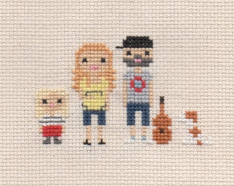 Maternity / Baby Shower Custom Cross Stitch Family Portrait in Pixel Art Style (Framed)