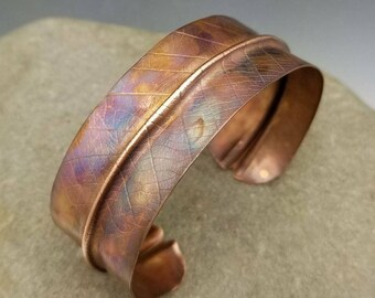 Flame-painted copper leaf cuff with real organic leaf imprint