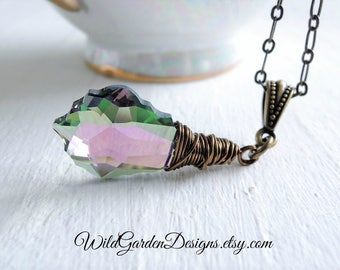 Wire Wrapped Crystal Pendant Baroque Swarovski Crystal Lavender Fields Purple Green Crystal Pendant Boho Style Long Crystal Pendant Necklace