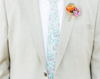 Mint Liberty of London Tie, mint floral tie, mint green men's tie, green men's tie, mint paisley tie, mint tie, green skinny tie, necktie