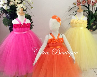 Flower Girl Dress Wedding Dress Birthday Holiday Picture Prop 3, 6, 9, 12, 18, 24 Month, 2T, 3T,4T 5T 6T Coral Flower Girl Tutu Dress