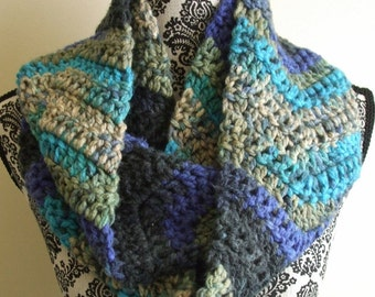 Crochet Infinity Scarf in Blue and Gray- Crochet Chevron Loop