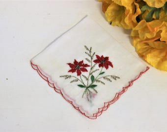 Vintage Cotton Christmas Handkerchief / Embroidered Poinsettia Red Trim / Vintage Holiday Hanky Hankercheif Handkercheif / Linens Vanity