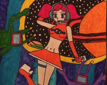 Space Channel 5 Ulala OOAK Drawing