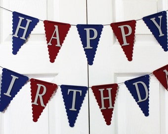 Red, Navy and Silver Happy Birthday Banner, High Chair Banner, One Banner