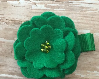 Kelly Green Beaded Felt Flower Hair Clip Clippie Babies, Toddlers, Girls