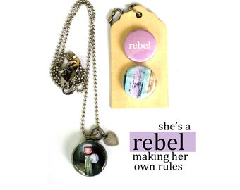 REBEL Necklace, Rebel Locket, Gift for Her, Rebellious Archetype Jewelry, Magnetic Locket, 3 Necklaces in 1, Holds Picture, Solocosmo Art