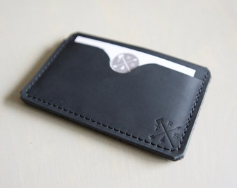 The Kyoto - Minimalist Card and Cash Wallet in Charcoal Black Leather