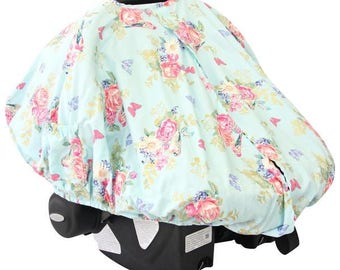 Emma's Floral | Blue and Gold Car Seat Canopy Cover