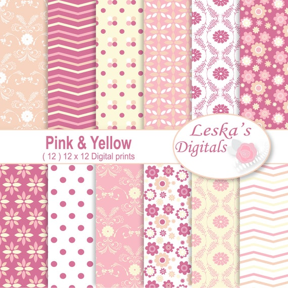 Pink And Yellow Digital Paper Scrapbooking Paper Pink And Yellow