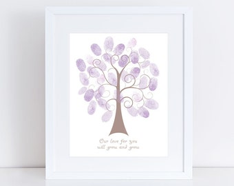 baby shower guest book fingerprint tree print - printed 10x8 personalised nursery print or as shown wall art new baby gift australian design