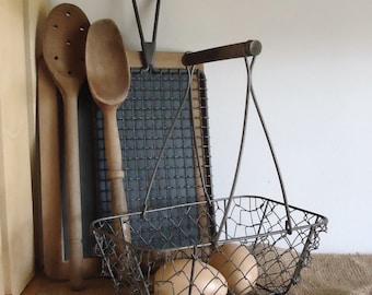 wire basket, chicken wire basket, storage basket, bathroom decor, cottage country, shabby chic, kitchen decor, farmhouse kitchen